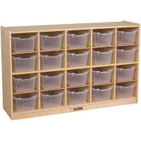 Birch 20 Tray Storage Cabinet with 20 Clear Bins ELR-0426 CL