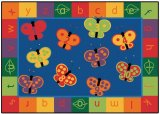 123 ABC Butterfly Fun Rug Oval & Rectangular