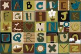 Alphabet Blocks Nature Rug Rectangular