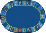 A to Z Animals Oval Classroom Rug