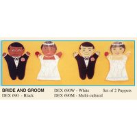 Dexter Set/2 Puppets Black Bride and Groom   DEX690B