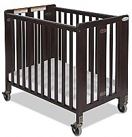 Foundations Hideaway Compact Fixed Side Folding Crib Antique Cherry 1031852