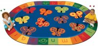 KIDSoft 123 ABC Butterfly Fun Oval Rug 8' x 12' CK 3507