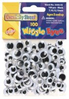 Round Wiggle Eyes - Black Pack of 100, Assorted Sizes CK 3446-02