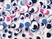 Oval Wiggle Eyes - Multicolour Pack of 100, 3448-01 – Multi (Blue, Pink, Black), 10mm