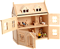 Plan Toys Eco-Friendly Furnished Victorian Dollhouse Package J40-H12219