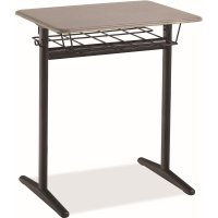 "Student Desk Adjustable Height 20"" x 26"" Hard Plastic Top With Wire Box  Model D-INT"