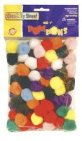 "Pom Pons - 1"" - 100 Pcs Assortments CK-8110-01"