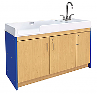 Tot Mate Infant Changing Table with Right Hand Sink ROYAL BLUE/MAPLE TM401A