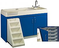 "TODDLER WALK UP CHANGING CENTER WITH 12 STORAGE TRAY 3""DEEP LEFT HAND SINK ASSEMBLED 8521A"