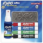 EXPO® Low-Odor Dry-Erase Starter Kit With 4 Markers, Chisel-Tip, Assorted Colors 83153C