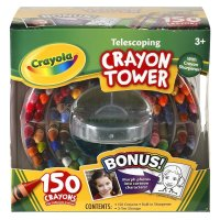 Crayola 150-Count Telescoping Crayon Tower, Storage Case, With Sharpener 52-0029