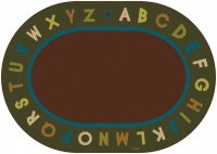 Natures Colors Oval Alphabet Circletime Classroom Rug Size 6' x 9' Oval CK 10706