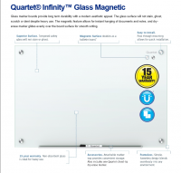 "Quartet Infinity Magnetic Glass Dry Erase Board, White, 48"" X 36"" (3820115)"