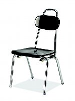 "Hard Plastic Stacking Chair with Handle, Glide, 14"" Seat Height Chrome Frame (COLORS OPTIONS AVAILABLE) C-MR 14-HAN"