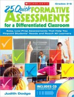 25 Quick Formative Assessments For a Differentiated[S87421]