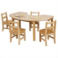 "Maple Classroom Table High pressure Laminate Top 3/4""Solid Maple Apron & legs (KIDNEY SHAPE) 30"" X 48"" JB-910"