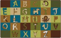 A to Z Animals Nature Colors Classroom Rug Size 7'6 x 12' Rectangular CK 55762
