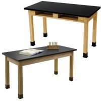 "Standard Hardwood Classroom Science Tables 48"" Wide/ 24"" Deep/ Table Legs height Option Available AP BS2448BA"