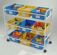 Multi-Purpose Cart with 5 blue and 4 yellow open tubs CC0059-WBY