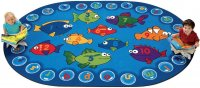 Fishing for Literacy Oval Classroom Rug 3'10 x 5'5 CK 6803