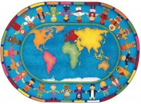 Hands Around the World Classroom Rug 7'8 x 10'9 Oval JC1488DD
