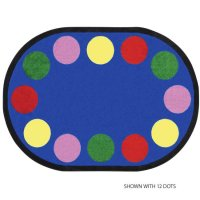 Lots of Dots Kids Area Rug 10'9 x 13'2 Oval - 30 Dots Blue JC1430GG