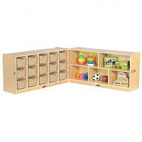 "Fold & Lock 15 Tray Cabinet and 24"" Storage - Sand ELR-17216-SD"
