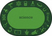"STEAM  Classroom SCIENCE Rug 7'8"" X 10'9 Oval JC 1912CC-"
