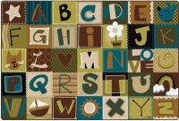 "Alphabet Blocks Nature Rug 8' 4"" x 13' 4"" CK 11734"