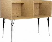Double Wide Study Carrel with Adjustable Legs and Top Shelf in Oak Finish [MT-M6222-OAK-DBL-GG]