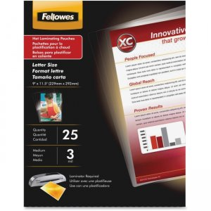 "Fellowes Laminating Pouches 3 mil Letter size 9"" x 11-1/2"" 25/pkg 5200501"