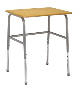 "Student Desk Adjustable Height Round Legs with Wire Shelf Chrome Frame 20"" x26"" Hard Plastic Top"