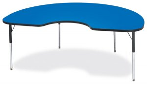 "Activity Table 48""x72"" Kidney Shape Laminate Table Top  Adjustable Height (COLOR OPTION) 6423JCT"