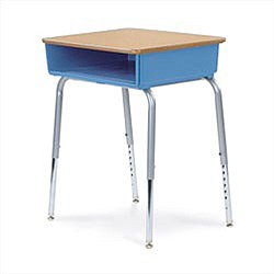 Virco 785 Open Front Classroom Desk With Solid Plastic Top - Plastic Book box 4040989