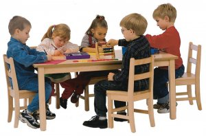 "Maple Classroom Table High pressure Laminate Top 3/4""Solid Maple Apron & legs 30"" X 48""(Legs Height Option Available) JB-903"