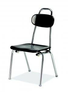 "Hard Plastic Stacking Chair with Handle, Glide, 12"" Seat Height Chrome Frame (COLORS OPTIONS AVAILABLE) C-MR 12-HAN"