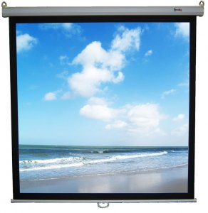 "White Retract Plus 1:1 AV Format Manual Screen Square -Standard Return - 50""x 50"" - 96""x96"" - 101xxx"