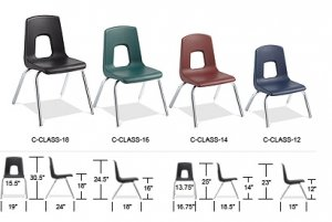 "Classroom Chairs Stackable Chrome Legs Seat Height 16"" Colors Option Available ACF-C16"