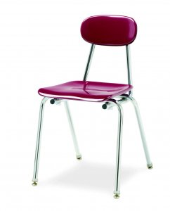 "Hard Plastic Stacking Chair with Glide, 18"" Seat Height, Chrome Frame (COLOR OPTIONS AVAILABLE) C-MAR 18"