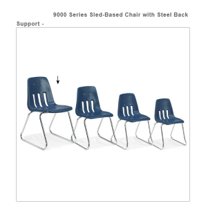 "Sled Base Chair 14"" Seat Height (Color Option Available) 9614"